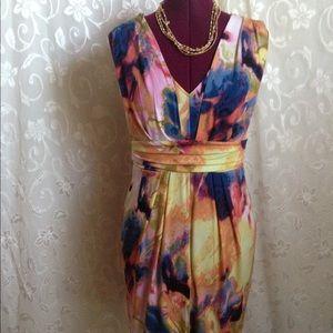 Vera Wang sleeveless multi color dress